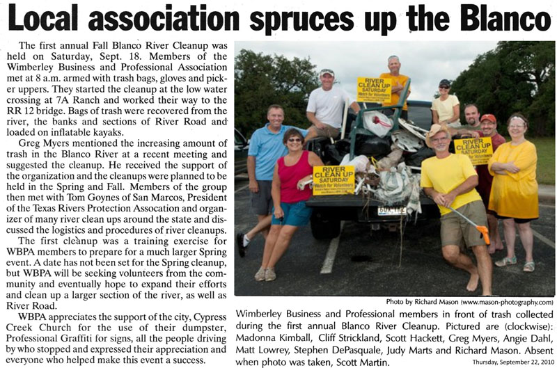 2010 first river clean up article